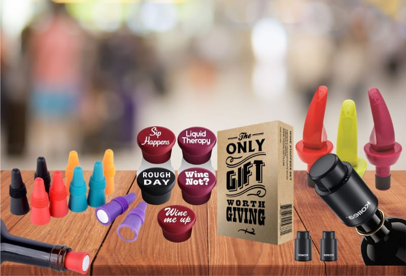 Various wine stoppers to choose from
