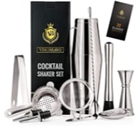 Vinobravo Boston Cocktail Shaker set with other bar tools and a gift box