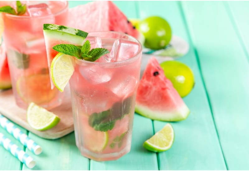 Watermelon Lemonade with Lime and Mint, Wood Background