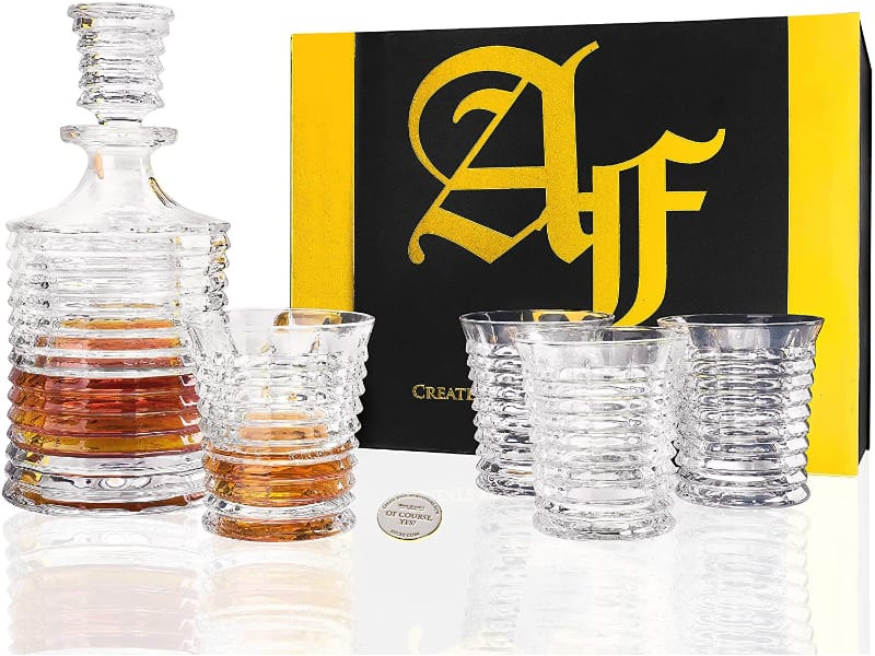 """Whiskey Decanter Gift Set """"Pier"""" 5-Piece with a gift box"""