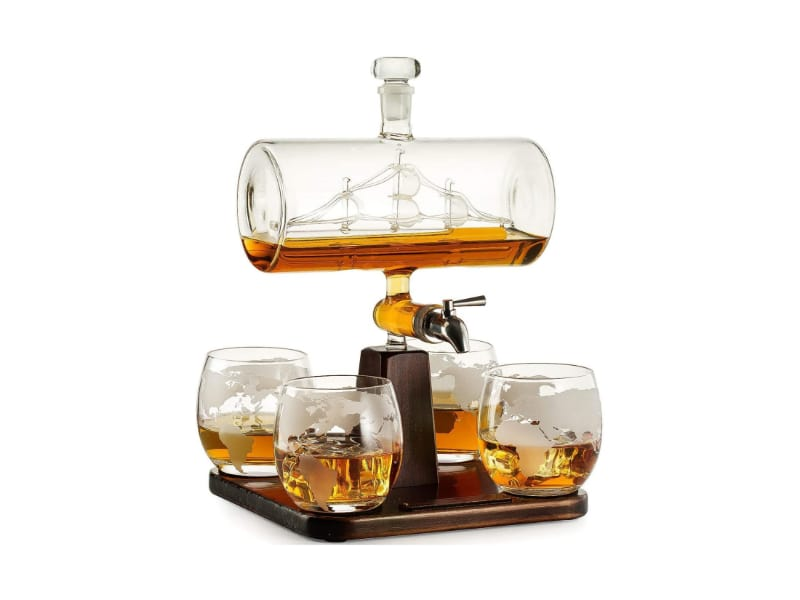 Whiskey Decanter Set with Antique Ship