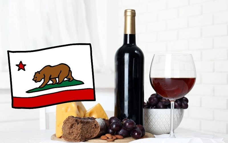 wine with cheese, grape, nuts, with California's flag