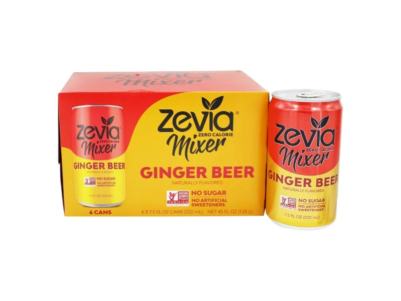 A pack of Zevia ginger beer