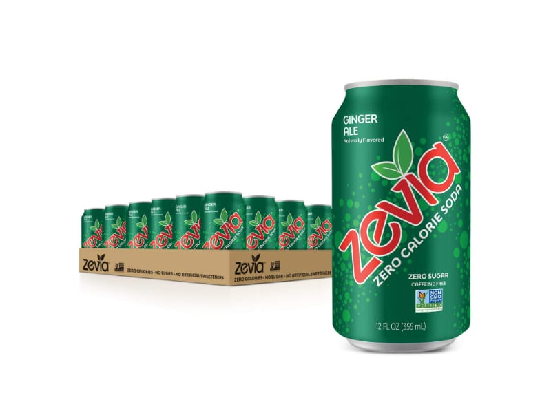 A pack of Zevia ginger ale