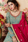 Baby Blue and Maroon Designer Gharara Suit