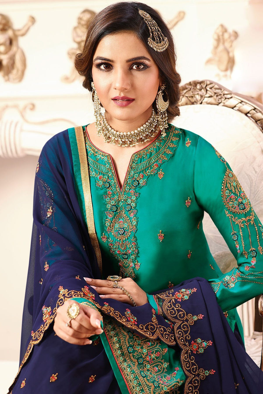 Cyan and Blue Party Wear Sharara Suit