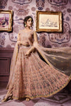 Peach Hues Party Wear Lehenga Style Anarkali Suit