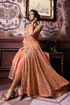 Orange Party Wear Layered Lehenga Style Anarkali Suit