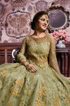 Green Traditional Embroidered Party Wear Anarkali Suit