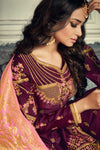 Plum Purple And Pink Embroidered Sharara Suit