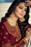 Maroon And Gold Embroidered Sharara Suit