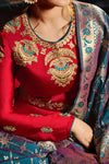 Ruby-Red Sartin Georgette Floor length Anarkali Suit