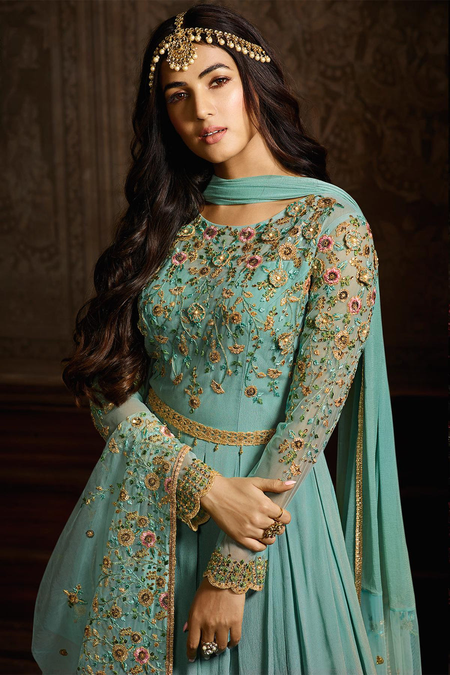 Arctic Blue Designer Net Anarkali Suit