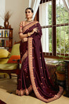 Maroon and Peach Embroidered Designer silk Saree