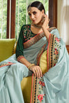 Dusky Sky and Bottle Green Embroidered Designer silk Saree