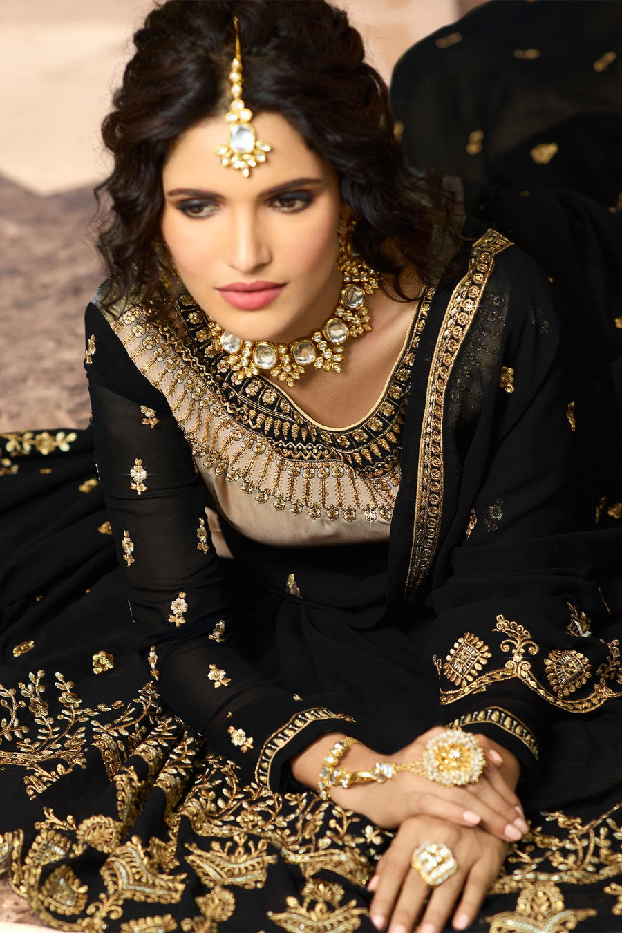 Ash Grey And Black Designer Gharara Suit