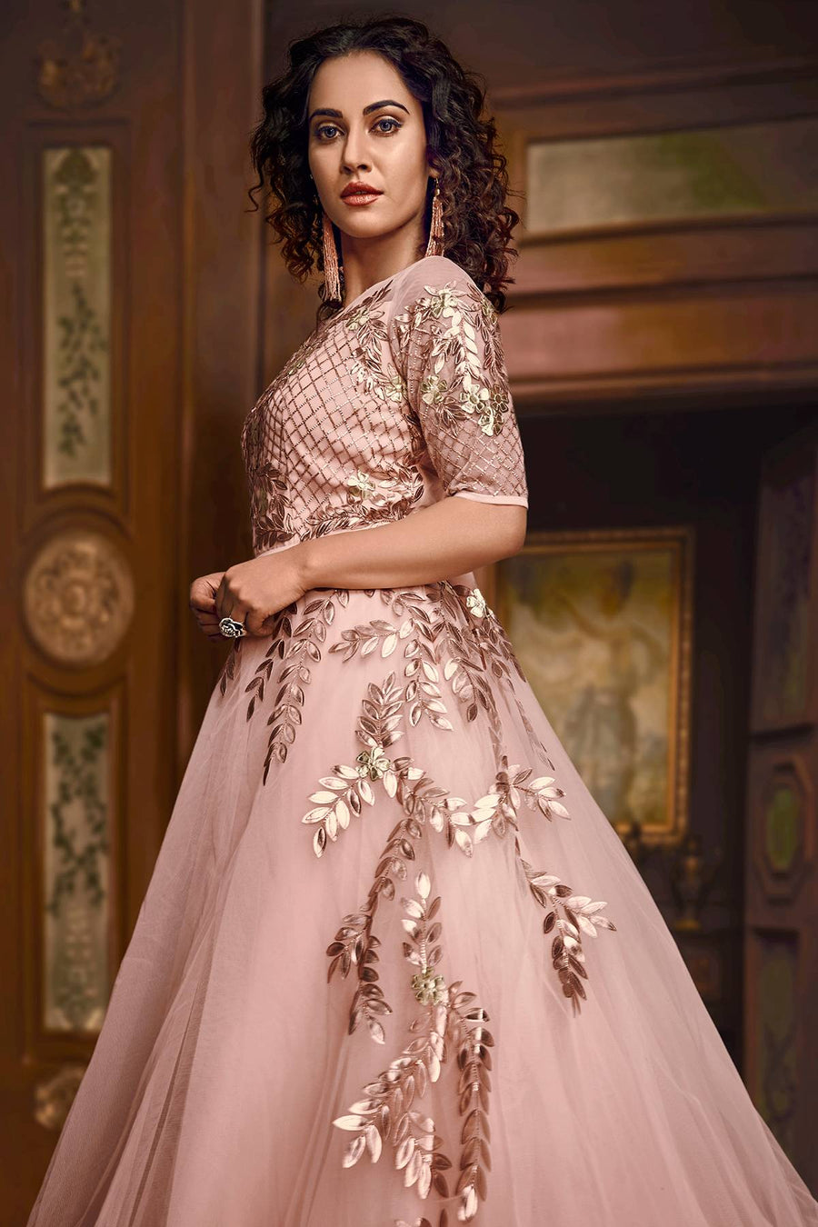 Baby Pink Designer Silk Layered Gown