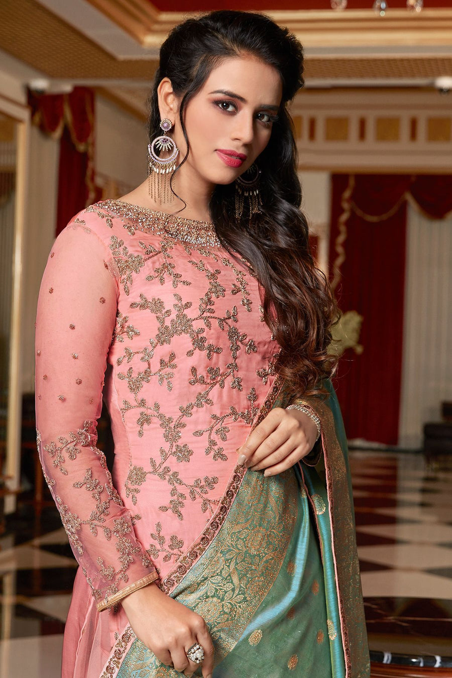 Baby Pink Embroidered Sharara Suit