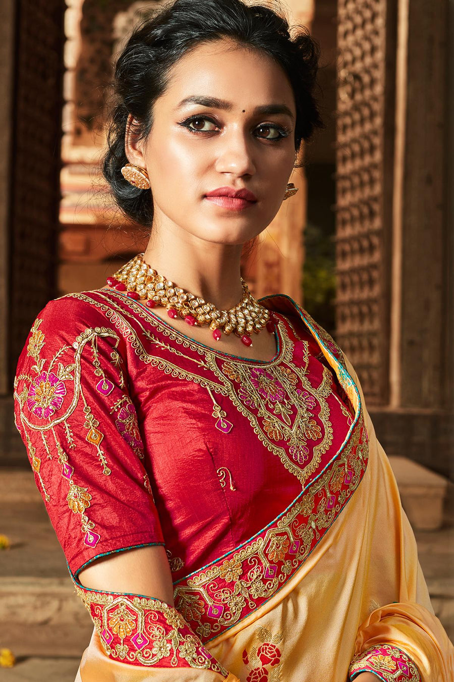 Beige And Scarlet Red Banarasi Silk Sari