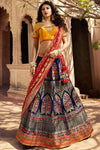 Berry Blue and Golden Silk Lehenga Choli
