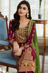 Berry Designer Georgette Straight Suit