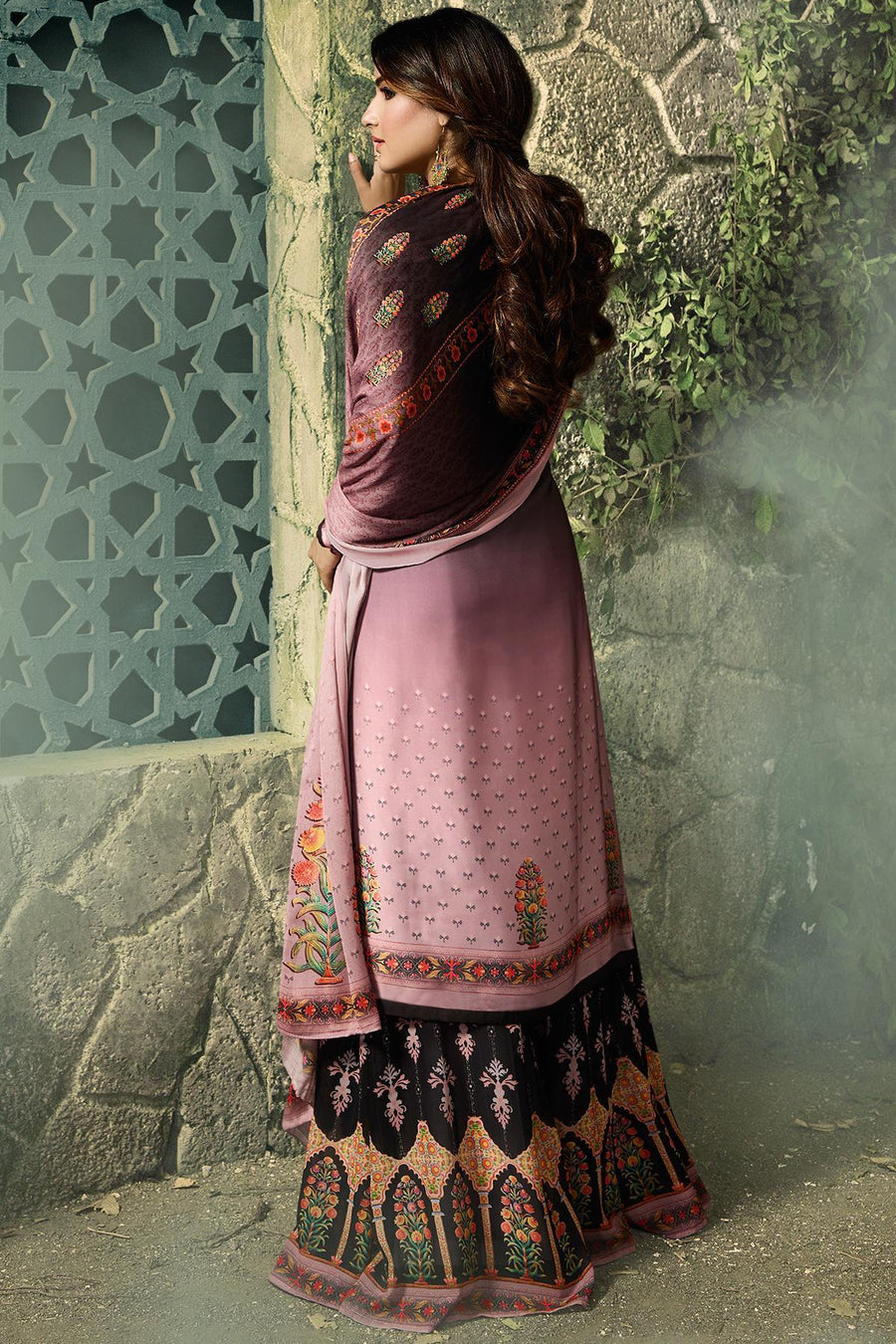 Black and Crape Pink Georgette Sharara Suit
