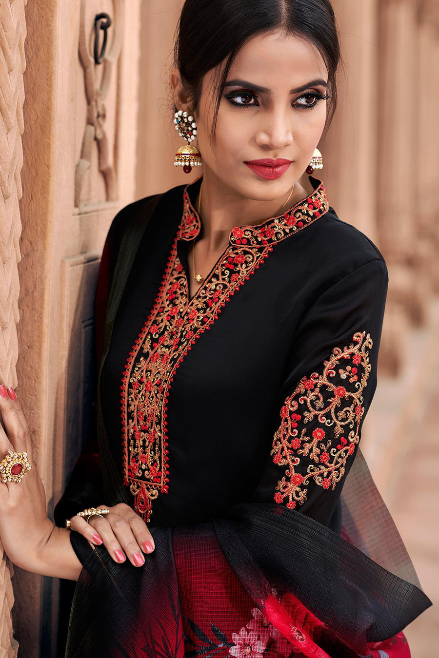 Black Traditional Party Wear Palazzo Suit