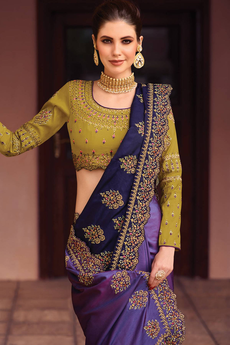 Blue and Olive Green Designer Silk Sari