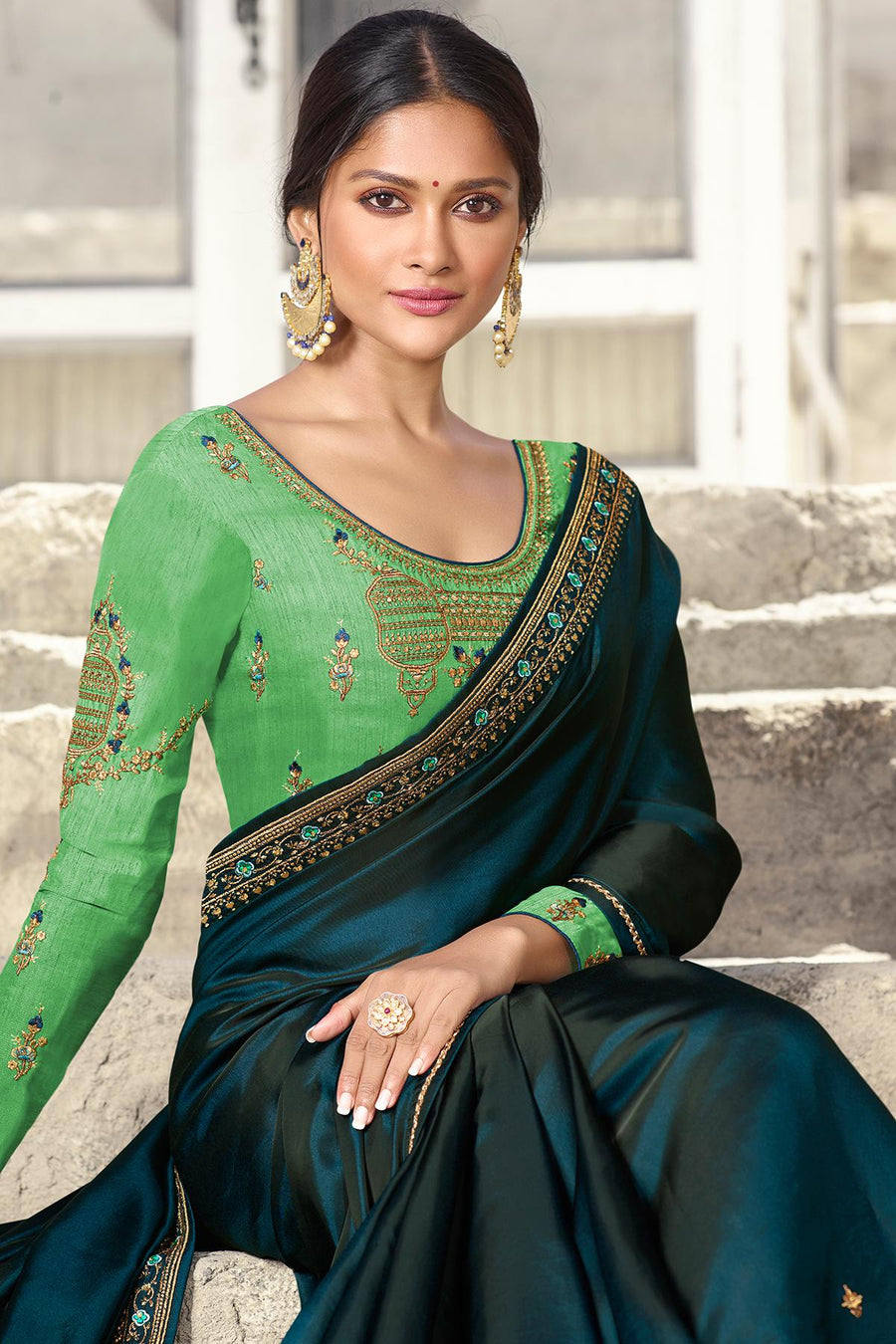 Blue And Pista Green Designer Silk Sari