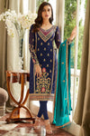 Blue Designer Georgette Straight Suit