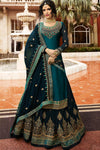 Blue Designer Satin Georgette Gharara Suit