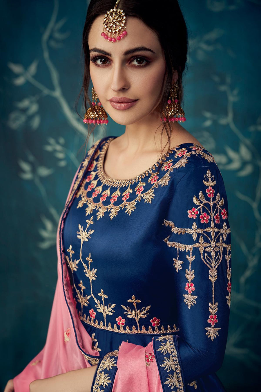 Blue Designer Satin Silk Anarkali Suit