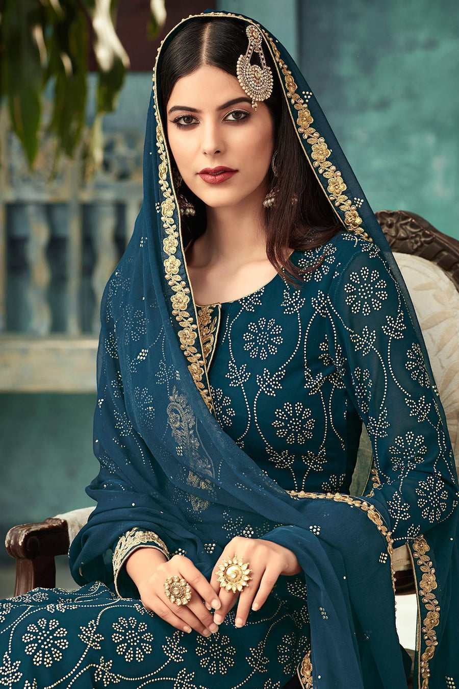 Blue Georgette Party Wear Palazzo Suit