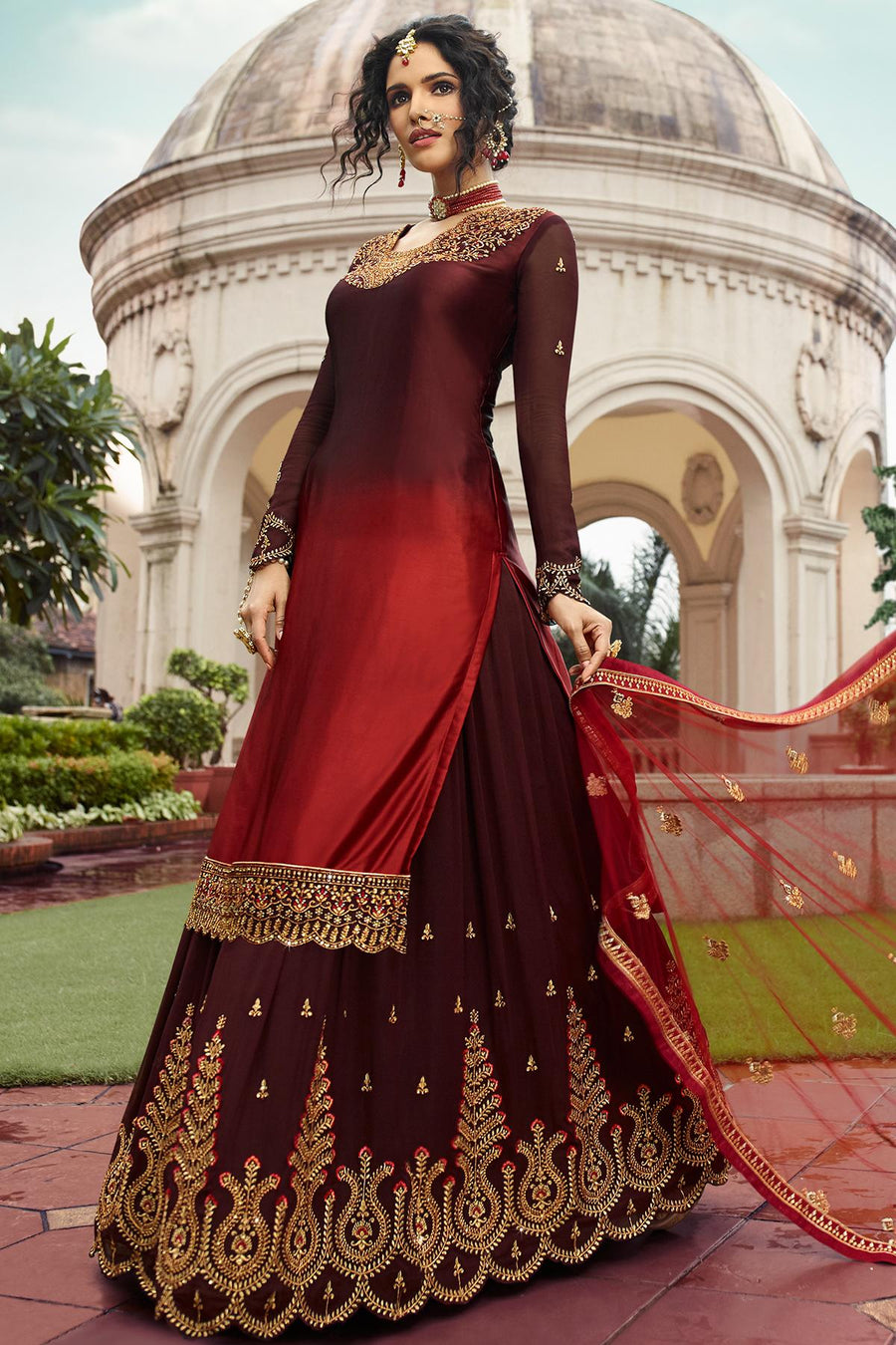 Brown And Red Designer Gharara Suit
