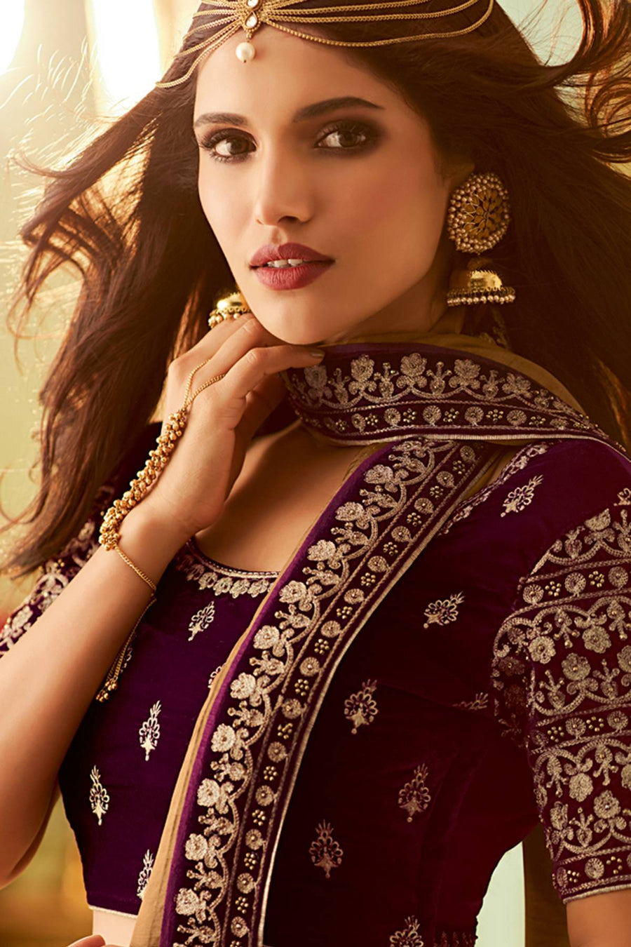 Brown And Wine Designer Silk Sari