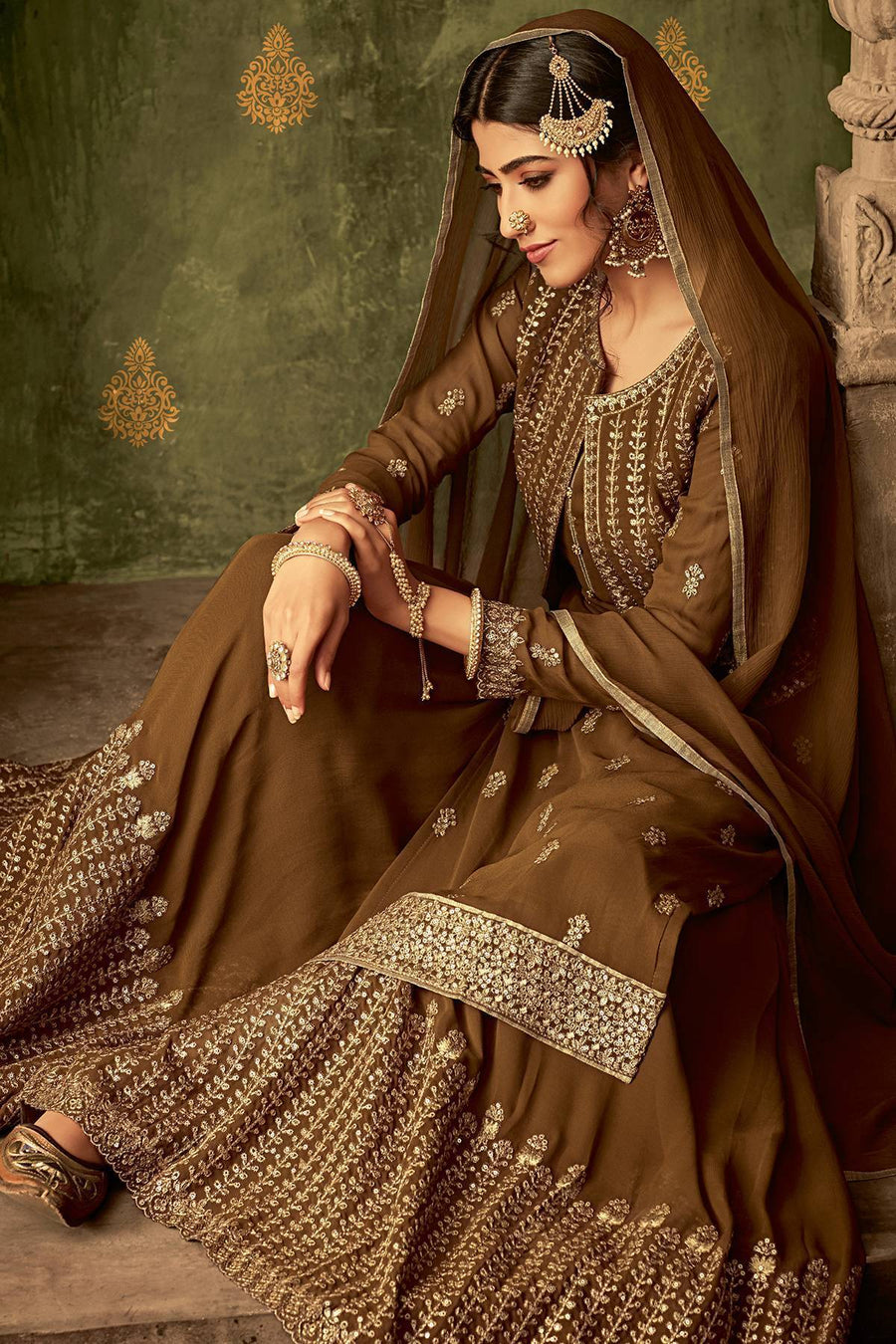 Brown Designer Sharara Suit With Koti