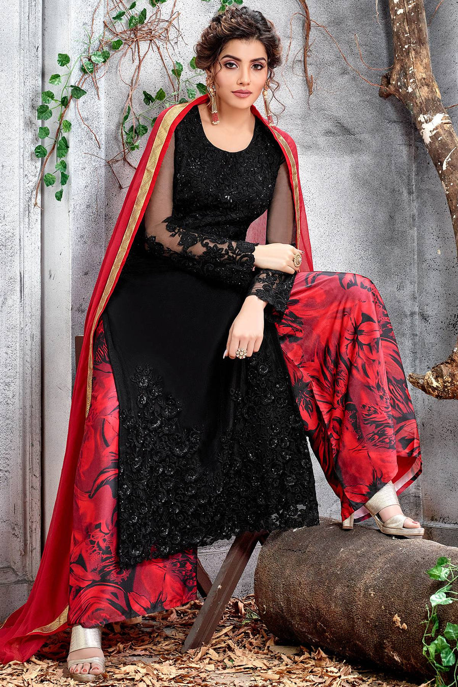 Butterfly Net Black Designer Palazzo Suit