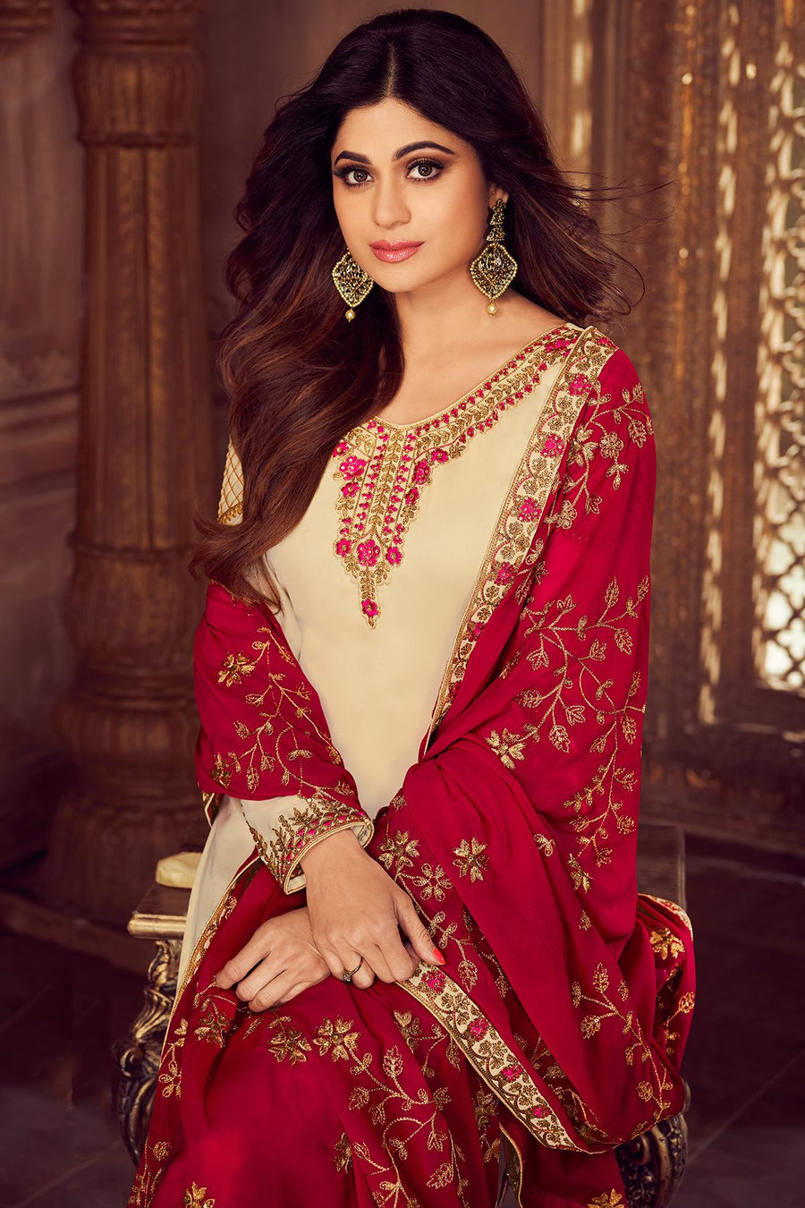 Cream And Red Designer Sharara Suit