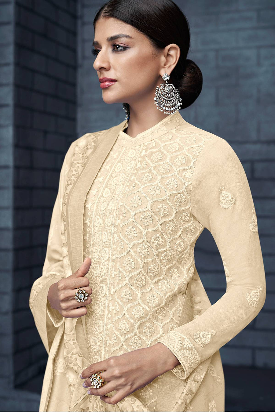 Cream Georgette Lakhnavi Straight Suit
