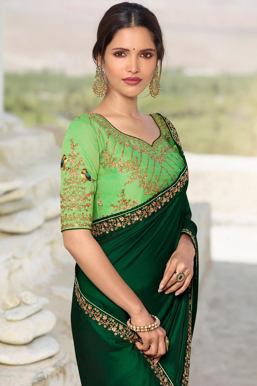 Dark And Pista Green Designer Silk Sari