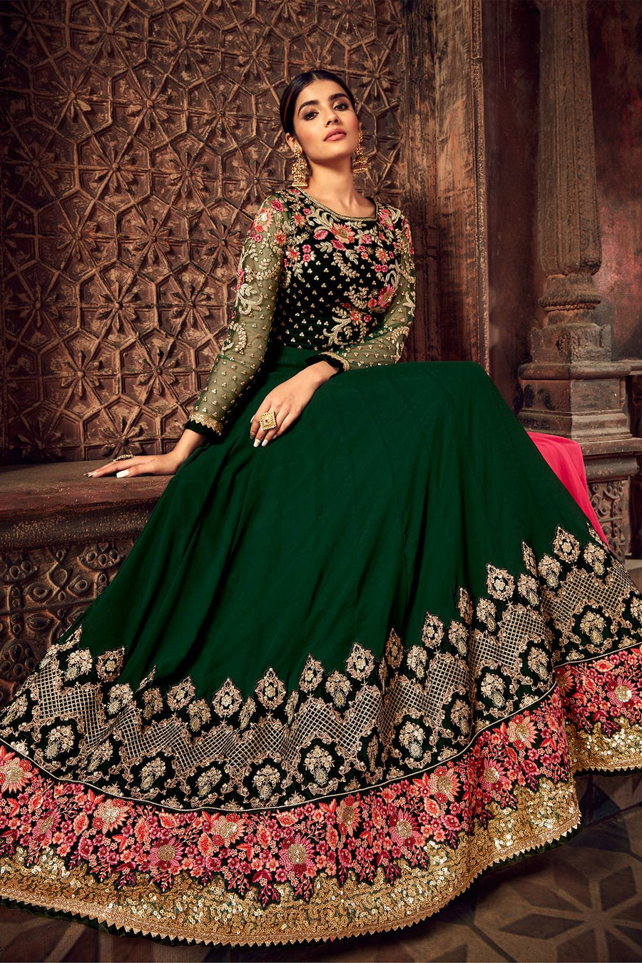 Dark Green Designer Anarkali Suit