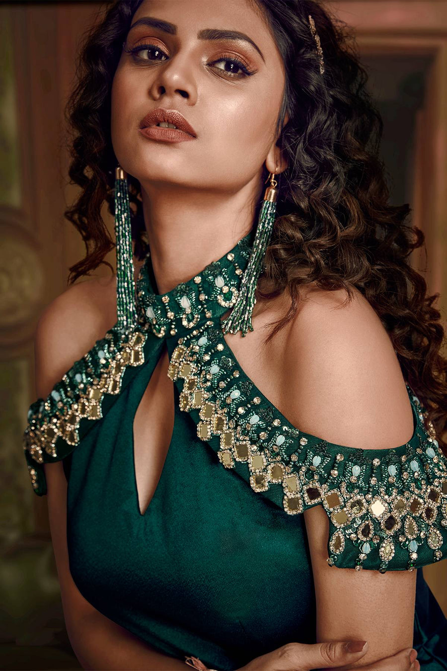 Dark Green Designer Silk Gown