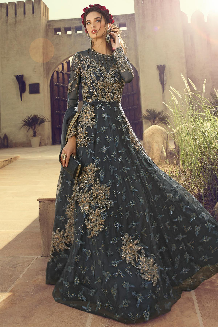 Dark Grey Designer Butterfly Net Anarkali Suit