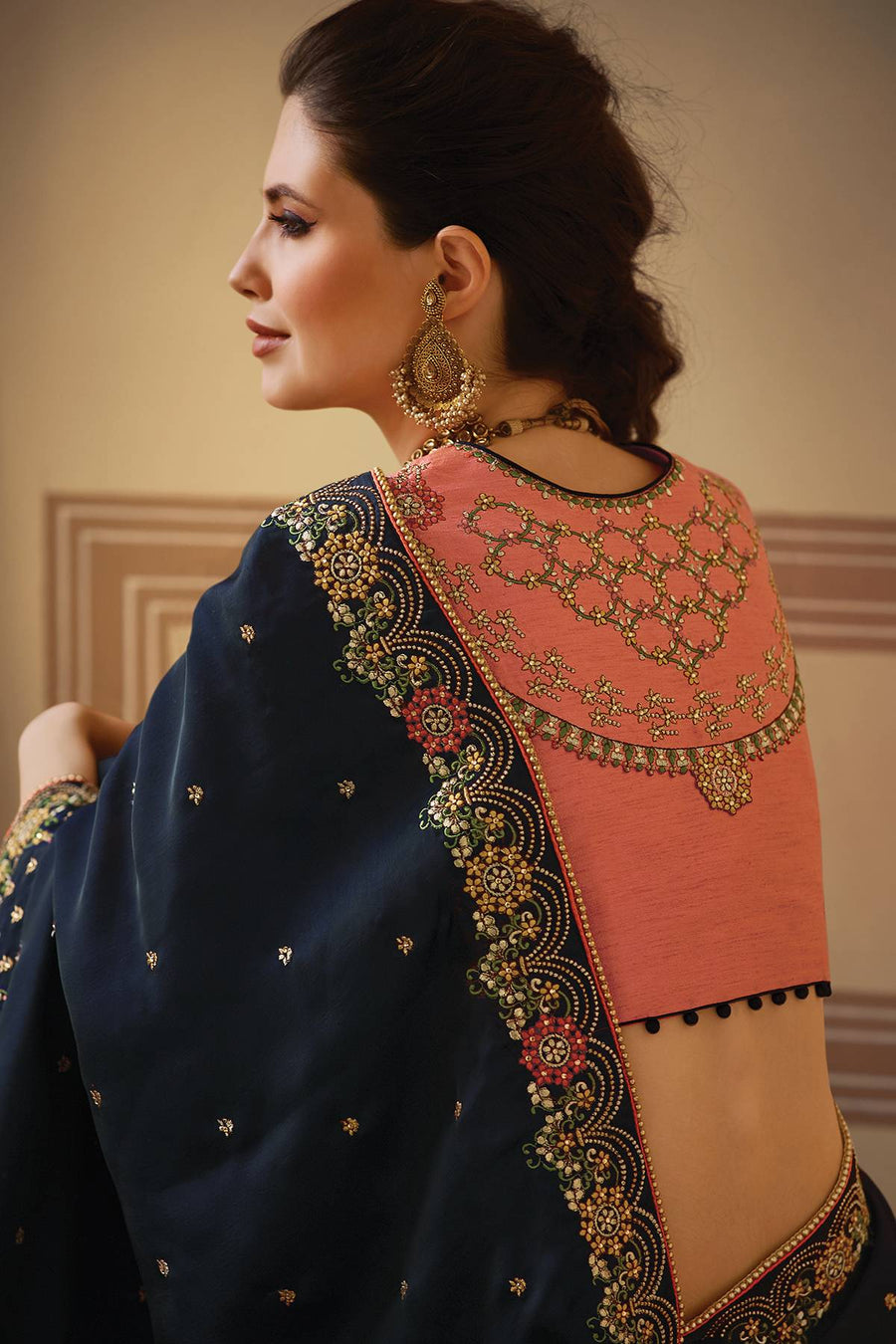 Denim Blue and Peach Designer Silk Sari