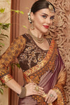 Purple Saree and Brown Blouse with heavy embroidery