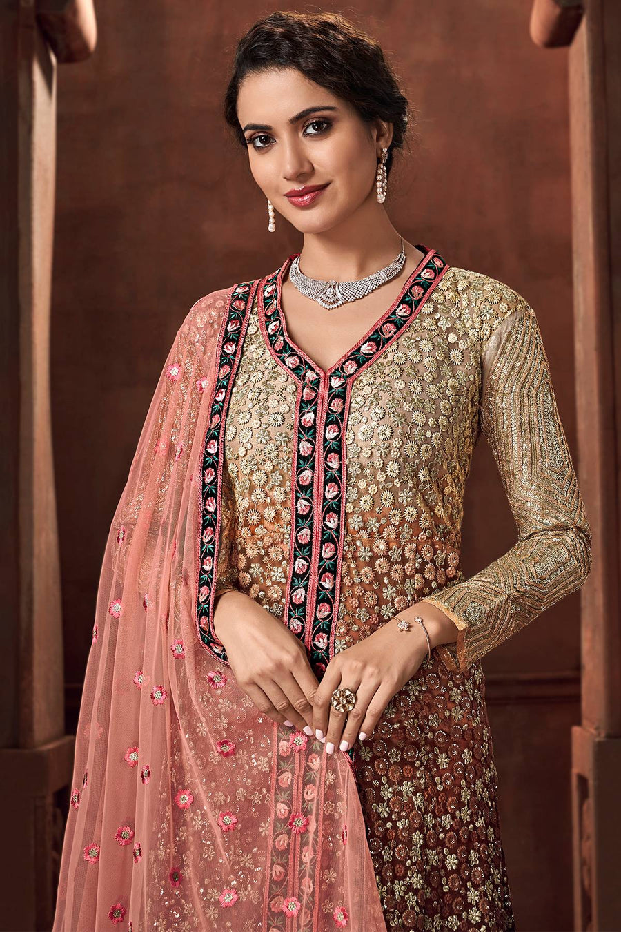 Dual Tone Brown and Peach Designer Net Lehenga Suit