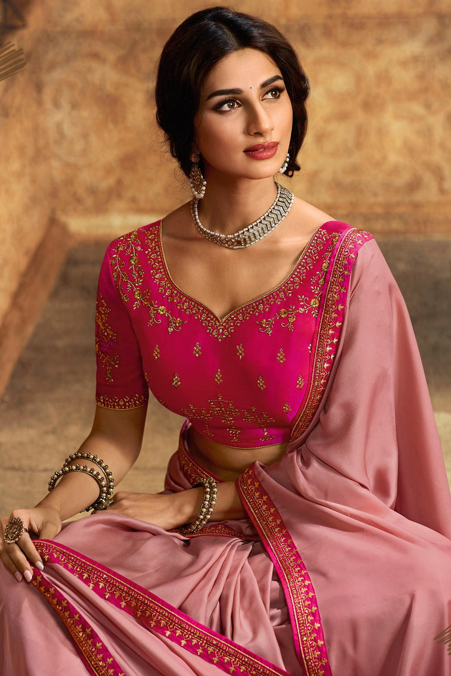 Flamingo Pink And Rani Designer Silk Sari