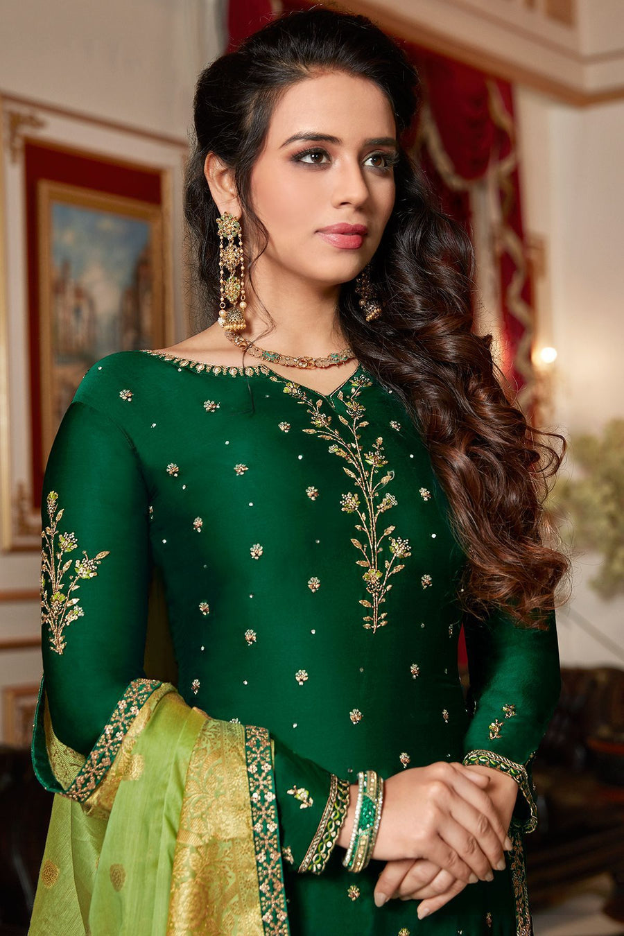 Forest Green Embroidered Sharara Suit