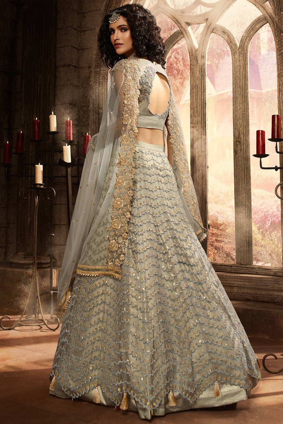 Fossil Grey Net Lehenga Choli Set