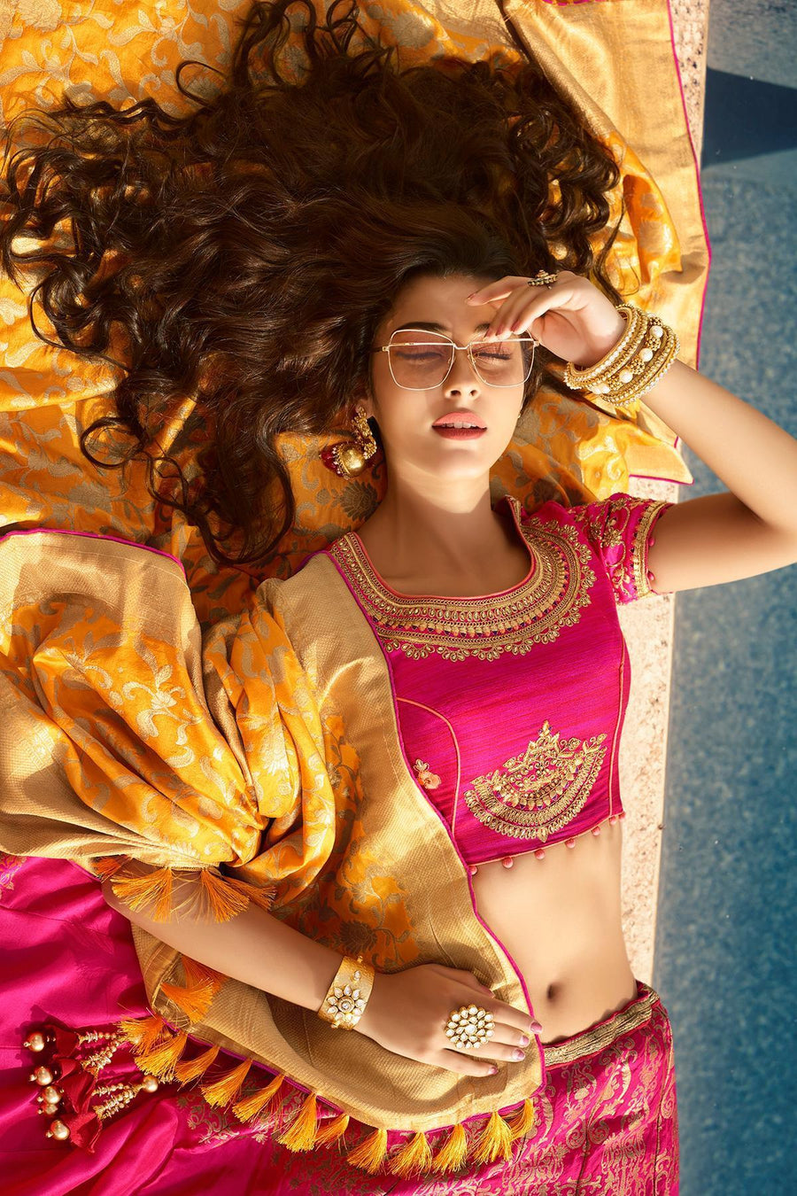Fuscia Pink Silk Party Wear Lehenga Choli